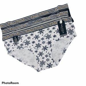 NWT NAUTICA Women's Panties Sz Small Pkg/3 Hipster